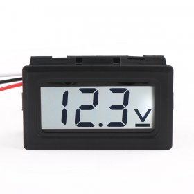Digital Car Volt Tester DC 0-100V DC Voltage Monitor Meter 3-Wrie White LCD Display