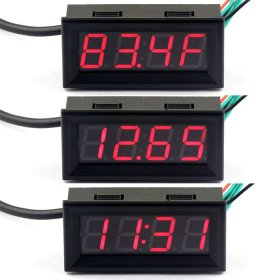 "Multifunction Time/Voltage/Temperature 3in1 Display Panel Meter 0.56"" 3in1 Red/Blue/Yellow/Green/White LED Multifunction Digital Monitor Meter"