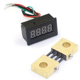 "0.36""DC 0-300A Digital Ammeter Panel Ampere Gauge Yellow LED +Current Meter Shunt"