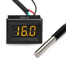 "DC 12V/24V Thermometer 0.36"" Red/Blue/Yellow/Green LED -55 ~125 Celsius Degrees Temperature Monitor for Water/Air/Indoor/Outdoor"