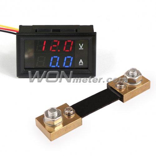 4 Bit 5 Wires 0-33V 3A DC Voltmeter Ammeter Digital LED Amp Volt Meter CAR Shunt