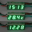 "3in1 Multifunction Clock Voltmeter Thermometer DC12V/24V 0.28"" Red/Blue/Yellow/Green/White LED Time/Voltage/Temp Monitor Meter"