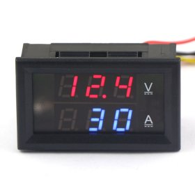 2in1 Volt Amp Panel Meter DC 0-300V/300A Red/Blue LED Dual Display Voltmeter Ammeter DC 4.5-30V Power Supply