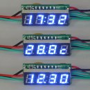 "Ultra Small 0.28"" Red/Blue/Yellow/Green/White LED Clock Voltmeter Thermometer 3in1 Multifunction Panel Meter DC12V/24V Power Supply"