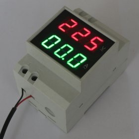 AC 110V/220V Digital LED Din-rail Voltmeter&Ammeter Red Volt Green Current Meter