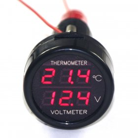 2in1 Car Meter Guages Dual-display Cigarette Lighter Voltmeter&Thermometer