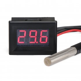 "Mini Digital Thermometer -55-125°c Mini 0.36"" Red LED Metal probe Waterproof DS18B20 Sensor"