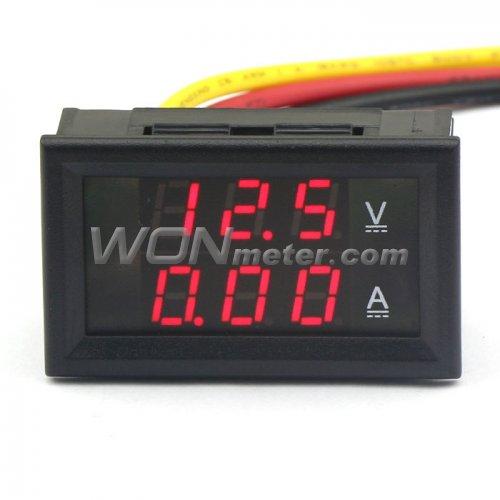 Electrical Wire Gauge Measuring Tool Digital Manifold: DC 4.5-30V/2A Digital Amperemeter Voltmeter Ammeter Red